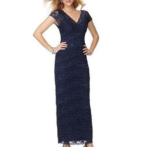 Marina Navy Layered Lace Beaded Gown Dress Size 8